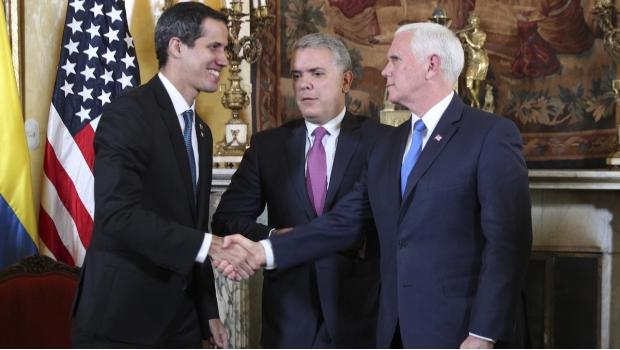 Resultado de imagen para FOTOS de Mike Pence con Guaido y presidente Duque
