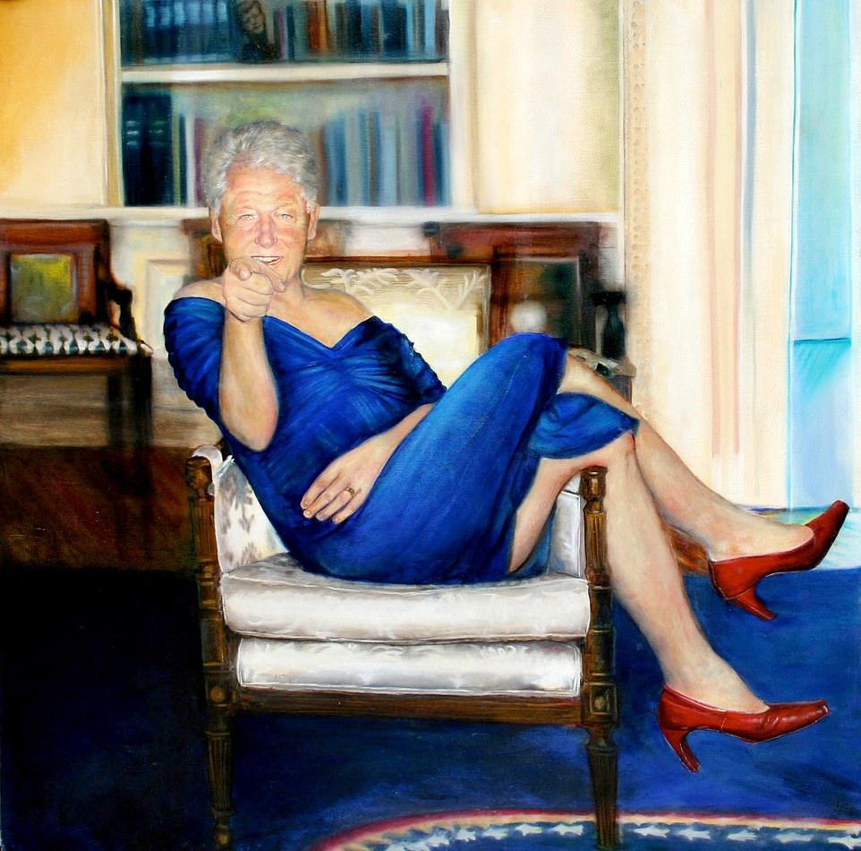 Jeffrey Epstein tenía una pintura de Bill Clinton con un VESTIDO azul y tacones rojos y descansando en la Oficina Oval