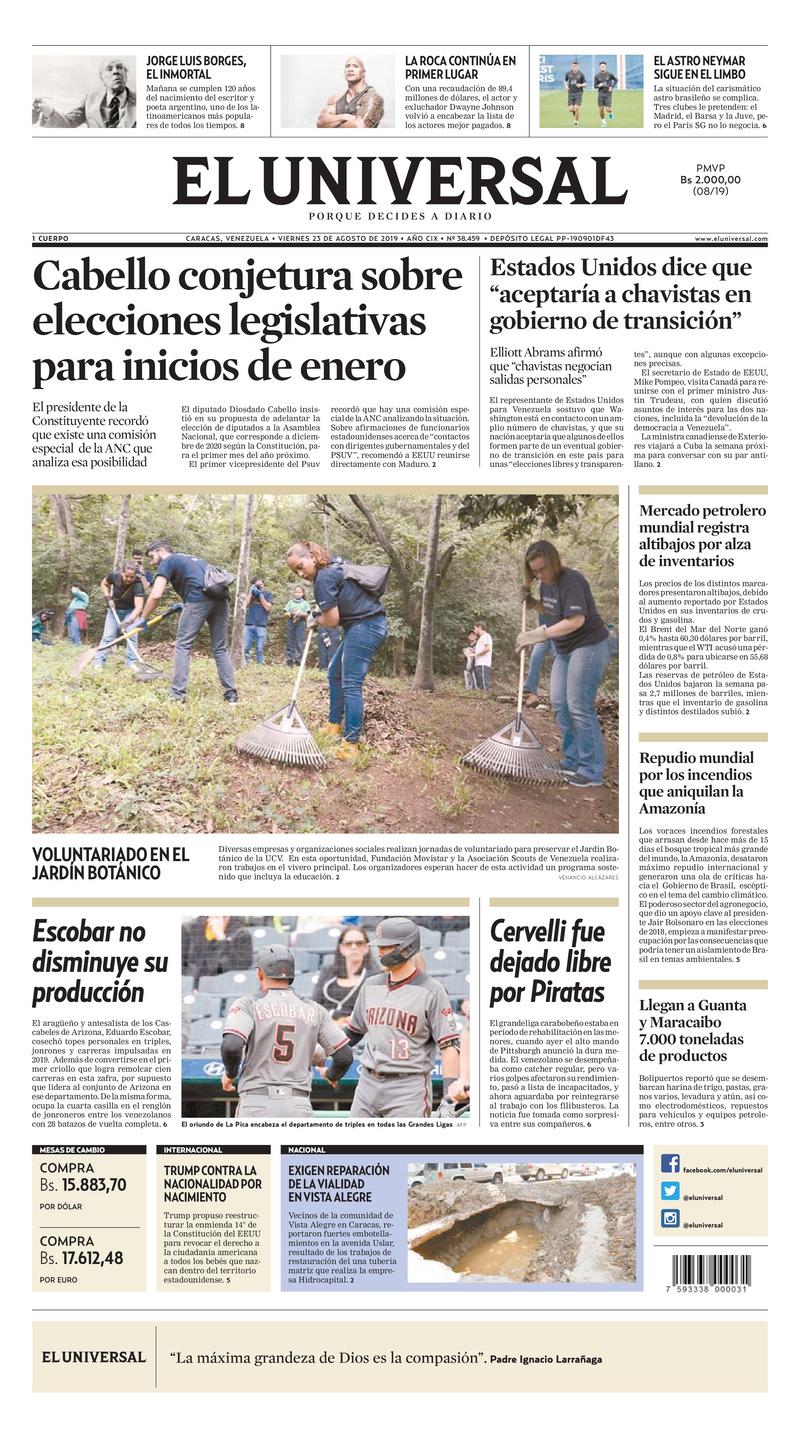 Principales portadas de la prensa de Venezuela hoy #23Ago
